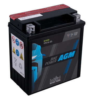 Intact Bike-Power AGM YTX16-BS 14Ah Motorradbatterie (DIN 81600)