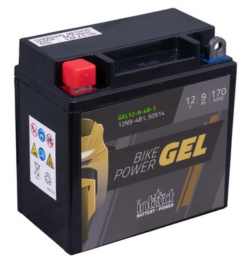 Intact Bike-Power GEL Motorradbatterie GEL12-9-4B-1 9Ah...