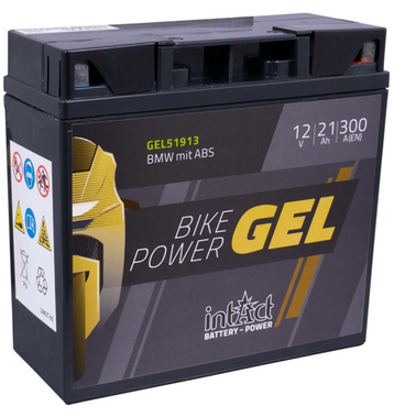Intact Bike-Power GEL Motorradbatterie GEL51913 21Ah (DIN...