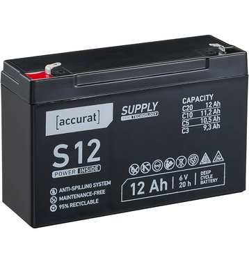 Accurat Supply S12 AGM 6V Bleiakku 12Ah