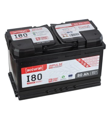 Accurat Impulse I80 Autobatterie 80Ah AGM Start-Stop