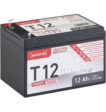 Accurat Traction T12 LFP 12V LiFePO4 Lithium Versorgungsbatterie 12 Ah