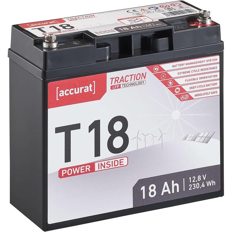 12V 18Ah LiFePO4 Lithium Batterie 230,4 Whh BMS Akku LFP Versorgungsbatterie