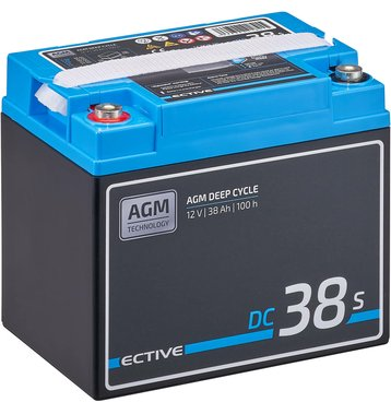 ECTIVE DC 38S AGM Deep Cycle mit LCD-Anzeige 38Ah Versorgungsbatterie